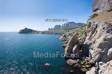 Summer View Seacoast. Warm Sea And Beautiful Nature. Sudak Beach. Black Sea, Ukraine Stock Photo
