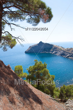 Summer View Seacoast. Warm Sea And Beautiful Nature. Sudak Beach. Black Sea, Ukraine Stock Photo