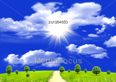 Sun In Clouds In The Blue Sky And A Green Glade Stock Photo