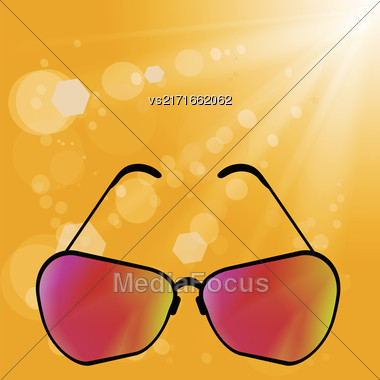Sun Glasses On Yellow Summer Blurred Background Stock Photo