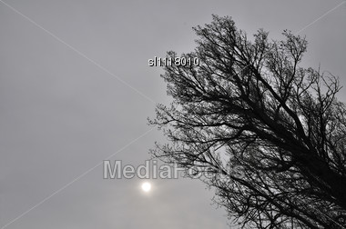 Sun Hardly Shines Through Clouds Bearing Volcanic Ashes Stock Photo
