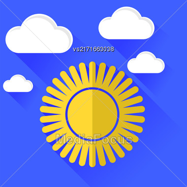 Sun Icon Isolated On Blue Sky Background. Long Shadow Stock Photo