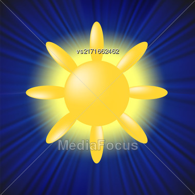 Sun Icon Isolated On Blue Sky Background Stock Photo