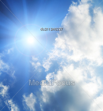 Sun In The Sky Covered With Clouds Stock Photo