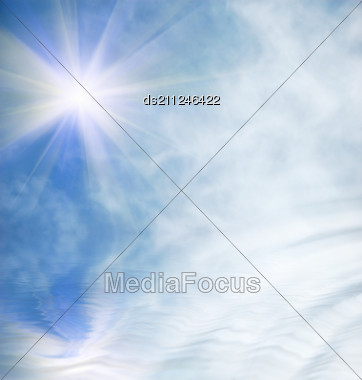 Sun, Sky, Clouds And Water With Ripples Stock Photo