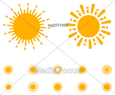 Sun Vector Collection On White Background In Rounded Lines Style Stock Photo