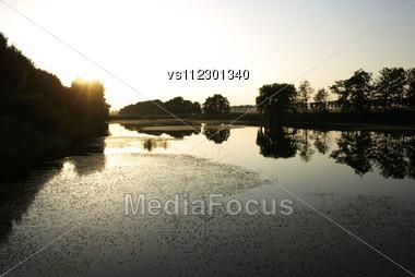 Sundown Over River Stock Photo