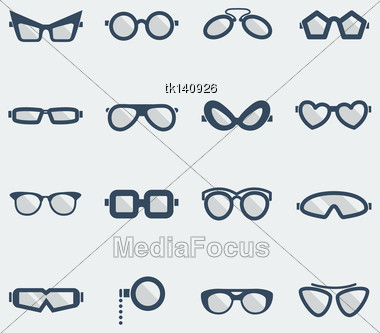 Sunglasses And Glasses Icons.Vector Flat Design Symbols Isolated On White Stock Photo