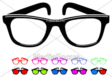 Sunglasses Icon In Disco Style. Vector Illustration On White Background Stock Photo