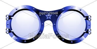 Sunglasses In Disco Style On White Stock Photo