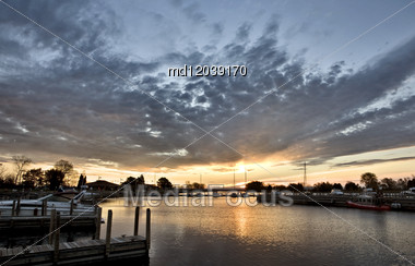 Sunrise Escanaba Michigan Marina Lake Michigan Dawn Stock Photo