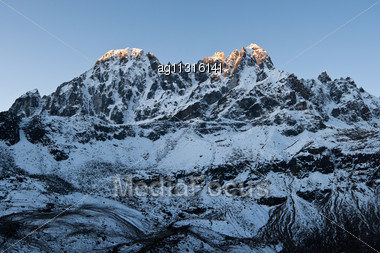 Sunrise In Himalayas Near Gokyo. Travel To Nepal Stock Photo