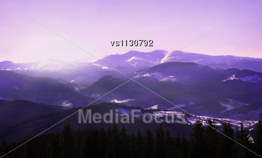 Sunrise In Winter Mountains. Landscape Stock Photo