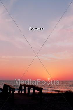 Sunset at Beach Access Stock Photo