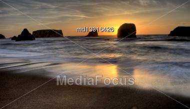 Sunset Bandon Oregon Beautiful Rock Formations USA Stock Photo