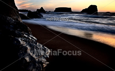 Sunset Bandon Oregon Beautiful Rock Formations USA Stock Photo