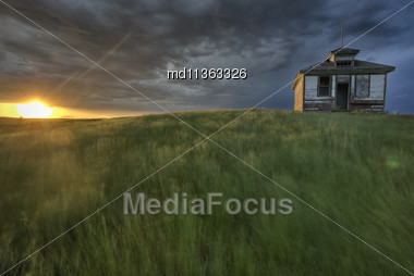 Sunset And Durum Wheat Crop Storm Clouds Stock Photo