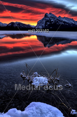 Sunset Mount Rundle Vermillion Lakes In Winter Stock Photo