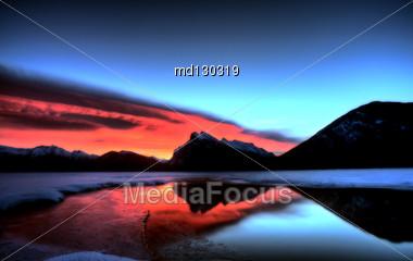 Sunset Mount Rundle Vermillion Lakes In Winter Stock Photo
