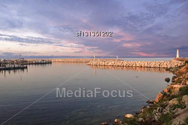 Sunset On Marina Stock Photo