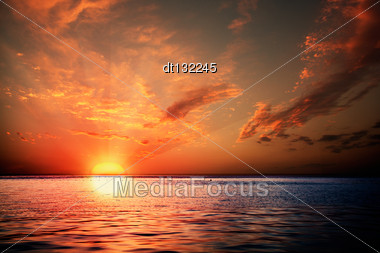 Sunset On The Ocean, Abstract Environmental Backgrounds Stock Photo