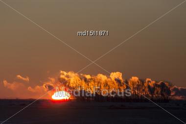 Sunset Pollution Potash Mine In Saskatchewan Canada Stock Photo