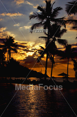 Sunset In A Pool Of The Isle Of Nosy Be Madagascar The Ocean And The Hill Stock Photo