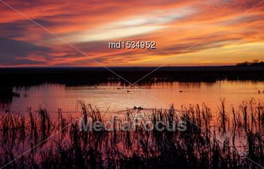 Sunset Rural Saskatchewan Near Moose Jaw Farmland Stock Photo