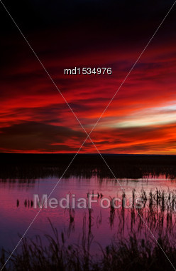 Sunset Rural Saskatchewan Near Moose Jaw Farmland Stock Photo