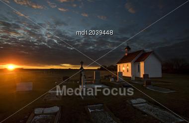 Sunset Saskatchewan Church Near Moose Jaw Canada Stock Photo