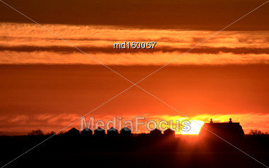 Sunset Saskatchewan Farm Orange Color Barn Rural Stock Photo