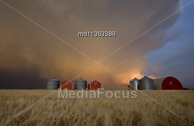 Sunset Storm Clouds Canada Lightning Granary Saskatchewan Stock Photo