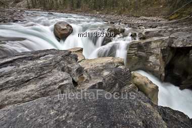 Sunwapta Waterfall Alberta Canada Blurred Water Fall Stock Photo