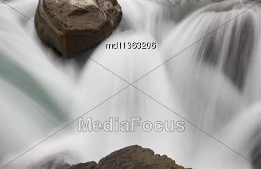 Sunwapta Waterfall Alberta Canada Blurred Water Fall Stock Photo