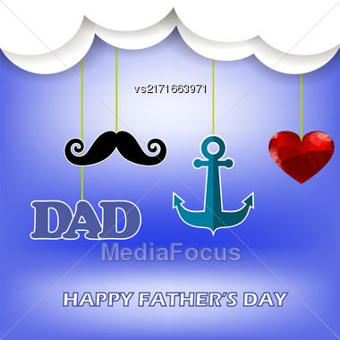 Super Dad Poster On Blue Sky Background. Happy Fathers Day Stock Photo