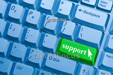 Support Word On Computer Keyboard Key Showing Assistance Concept Stock Photo