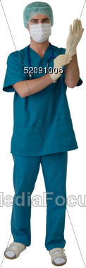 Surgeon with Mask and Gloves Stock Photo