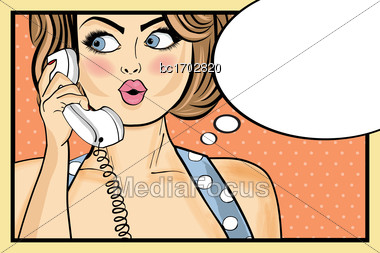 Surprised Pop Art Woman Chatting On Retro Phone . Comic Woman With Speech Bubble. Pin Up Girl. Vector Illustration Stock Photo