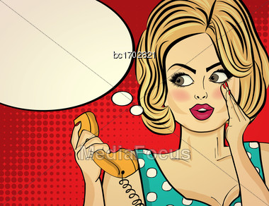 Surprised Pop Art Woman With Retro Phone, Who Tells Her Secrets. Pin-up Girl. Vector Illustration Stock Photo