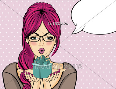Surprised Pop Art Woman That Holds A Gift In Their Hands . Comic Woman With Speech Bubble. Pin Up Girl. Vector Illustration Stock Photo