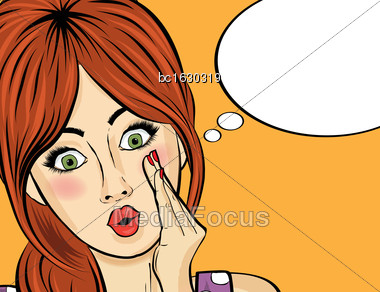 Surprised Pop Art Woman Who Tells Her Secrets. Pin-up Girl. Vector Illustration Stock Photo