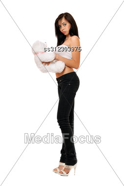 Surprised Pretty Girl With A Teddybear. Stock Photo