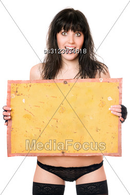 Surprised Young Brunette Taking Vintage Yellow Board Stock Photo