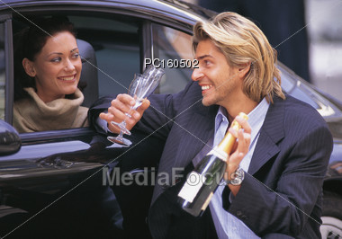 Surprising Woman with Champagne Stock Photo