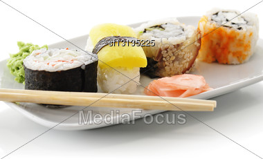 Sushi Assortment In A White Dish Stock Photo