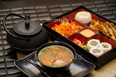 Sushi Lunch With Soup Salad Tea And Sauce Stock Photo
