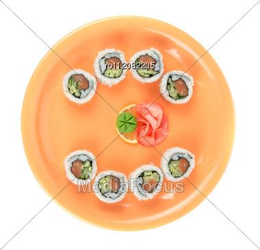Sushi At Orange Plate Stock Photo