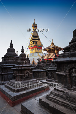 Swayambhunath Is An Ancient Religious Complex Atop A Hill In The Kathmandu Valley Stock Photo