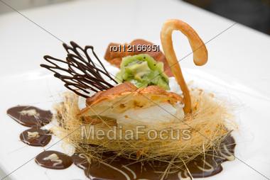 Sweet Cake Closeup Swan Stock Photo