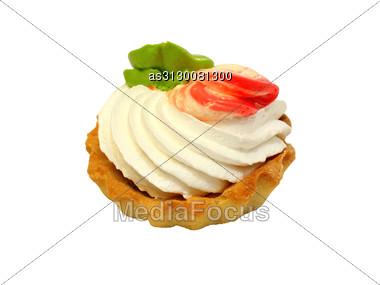 Sweet Cake With Cream Isolated On White Stock Photo